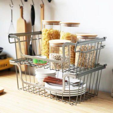 Rustic Multi Stackable & Hangable Basket Kitchen Cabinet Shelf Closet Wardrobe Style Degree Sg Singapore