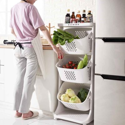 Multi-tier Kitchen Basket (With Wheels) Storage Trolley Pantry Kitchen Style Degree Sg Singapore