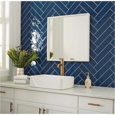 Blue Herringbone Tiling, Bathroom, Style Degree, Singapore, SG, StyleMag
