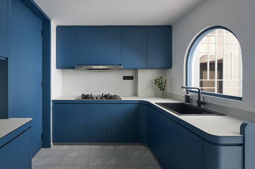 Blue Kitchen, Blue Kitchen Cabinets, Minimalist Kitchen, Style Degree, Singapore, SG, StyleMag