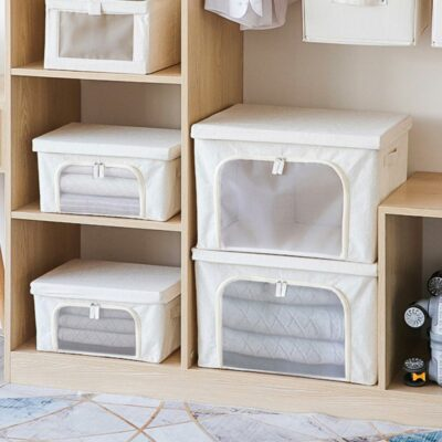 Canvas 2-Way Opening Foldable Storage Box Quilt Clothes Closet Wardrobe Organizer Style Degree Sg Singapore