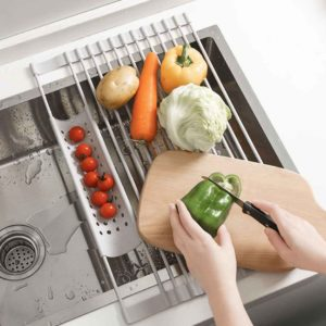 Minimalist Over-the-sink Drying Rack Silicone Rollable Utensils Dish Drainer Colander Style Degree Sg Singapore