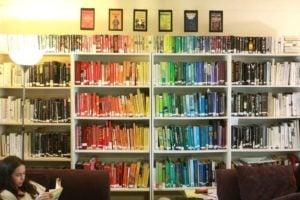 arranging books by colour, rainbow bookshelves,