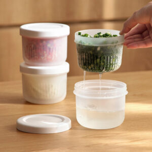 Garnish Round Food Container (With Drainer)