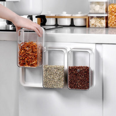 Hang & Slide Food Storage Containers (3pc Set) Kitchen Cabinet Hanging Pantry Condiment Box Style Degree Sg Singapore