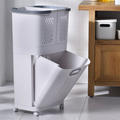 Triple Compartments Laundry Basket (With Wheels) Wall Hanging Closet Wardrobe Storage Box Style Degree Sg Singapore