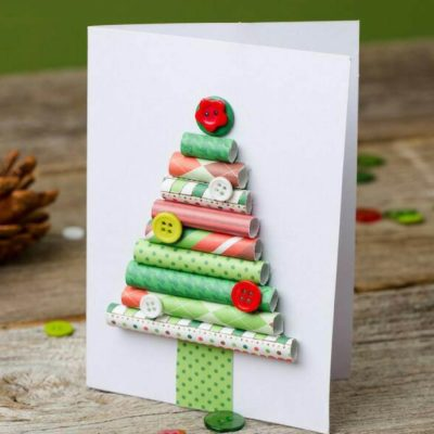 Rolled paper Christmas tree card, Christmas card ideas for kids, handmade Christmas cards, unique Christmas craft ideas for kids, Style Degree, Singapore, SG, StyleMag.