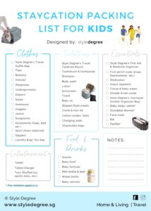 Staycation Packing List For Kids, Children packing checklist, printable packing list for kids, packing list for family, Style Degree, Singapore, SG, StyleMag.