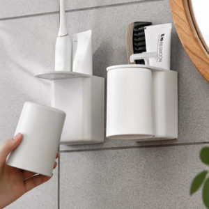 Basic Toothbrush Paste Holder (With Cup) Toilet Bathroom Wall Holder Magnetic Style Degree Sg Singapore