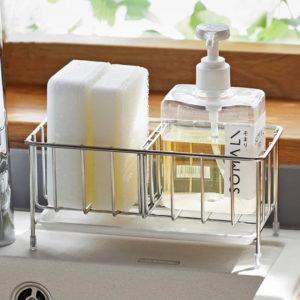 Stainless Steel Sponge Soap Sink Organizer Kitchen Basin Holder