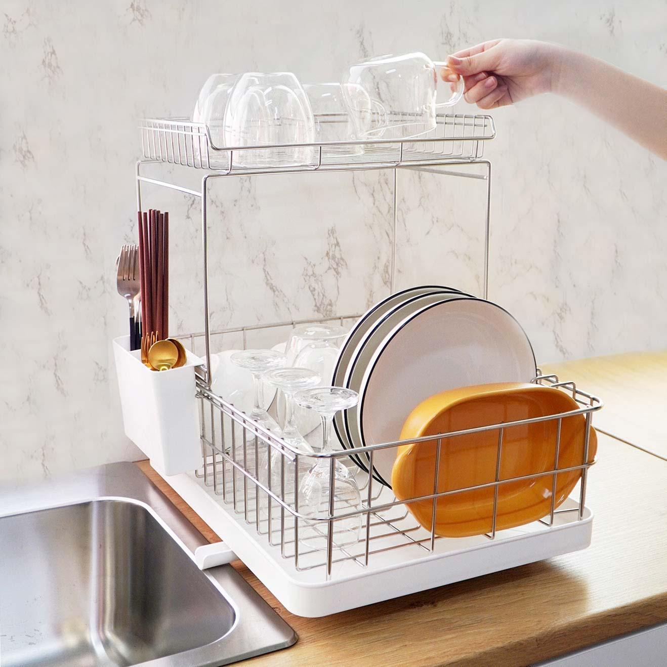 Double Layer Stainless Steel Dish Drainer Rack Kitchen Sink Organizer