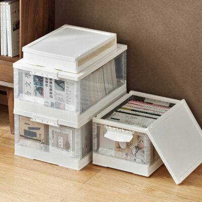 Minimalist Collapsible Storage Box (With Wheels) Stackable Organizer Wardrobe Closet Books Solution Style Degree Sg Singapore
