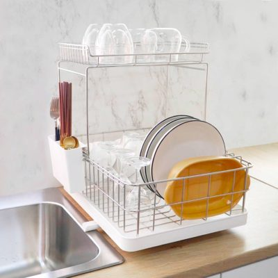 Double Layer Stainless Steel Dish Drainer Rack Kitchen Sink Basin Drying Cabinet Style Degree Sg Singapore