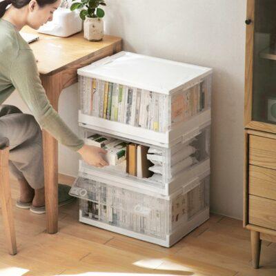 Minimalist Collapsible Storage Box (With Wheels) Stackable Organizer Wardrobe Closet Books Solution Style Degree Sg Singapore