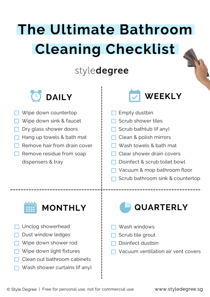 Bathroom cleaning checklist free printable, singapore, daily weekly monthly quarterly cleaning checklist for singapore home, Style Degree, singgaore, sg