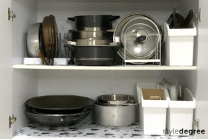 Try out new organization system, how to maintain an organized home, how to organize pots and pans in kitchen cabinet, Style Degree, Singapore, SG, StyleMag.