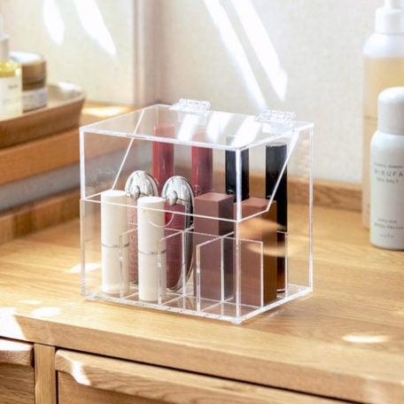 Acrylic Anti-Dust Lipstick Organizer Box, Clear Transparent Makeup Organizer Box, Cosmetic Storage Box, Vanity Organizers, Style Degree, Singapore, Sg