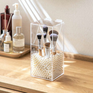 Acrylic Anti-Dust Makeup Brush Holder, Clear Transparent Cosmetic Organizer, Makeup Organizer, Cosmetic Organizer, Style Degree, Singapore, Sg