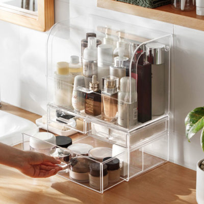 Clear Anti-Dust Makeup & Vanity Organizer, Cosmetic Organizer, Transparent Makeup Organizer, Clear Makeup Drawers For Vanity, Style Degree, Singapore, Sg