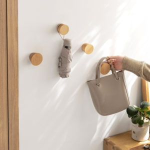 Woody Round Wall Knob, Wall Knob for Hanging Clothes, Bags, Accessories, Style Degree Sg Singapore