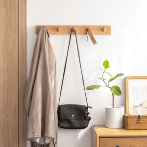 Woody Horizontal Wall Hanging Hook, Wall holder for Hanging Clothes, Bags, Accessories, Style Degree Sg Singapore