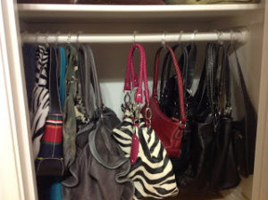 Hang handbags on shower curtain rings, bag organization ideas, diy handbag storage hacks, how to store bags and backpacks, Style Degree, Singapore, SG, StyleMag.