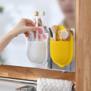 Adorable Self-Sticking Toiletries Wall Holder Toothbrush Toothpaste Bathroom Toilet Organizer Style Degree Sg Singapore