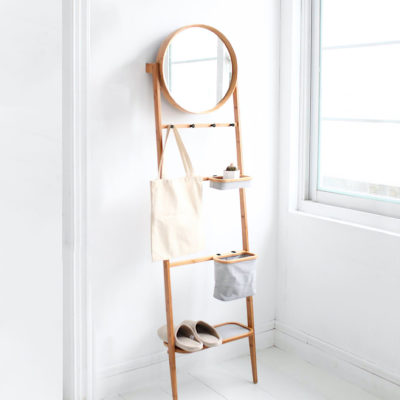 Gaia Ladder Storage Rack With Mirror Entryway Wall Home Decor Style Degree Sg Singapore