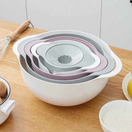Multi-Purpose Nesting Colander With Sieve & Juicer Baking Mixing Bowl Style Degree Sg Singapore