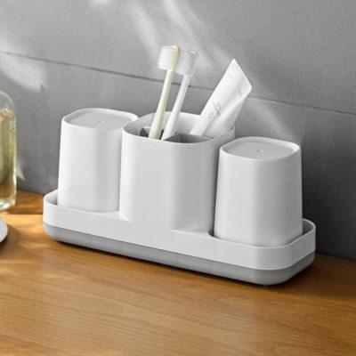 Essentials Toothbrush & Paste Holder With Mugs Bathroom Toilet Organizer Style Degree Sg Singapore