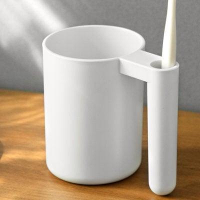 Daily Toiletries Mug With Toothbrush Holder Toilet Bathroom Style Degree Sg Singapore