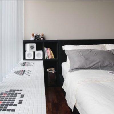 Bay window tiled lounge area, TikTok DIY furniture, StyleDegree, StyleMag, Singapore, SG