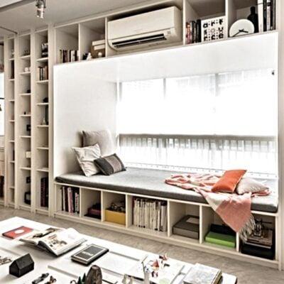 Bay window reading nook, Bay window bookshelf, StyleDegree, StyleMag, Singapore, SG