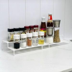 Extendable 2-Step Spice & Condiment Rack Seasoning Holder Kitchen Cabinet Organizer Style Degree Sg Singapore
