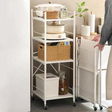 Luxe Rollable Foldable Storage Rack Shelving Shelf Kitchen Storeroom Bathroom Trolley Style Degree Sg Singapore