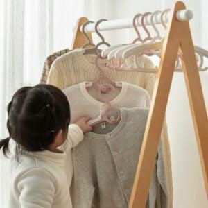 Kids Extend & Stack Clothes Hanger Children Baby Wardrobe Closet Nursery Pants Holder Style Degree Sg Singapore