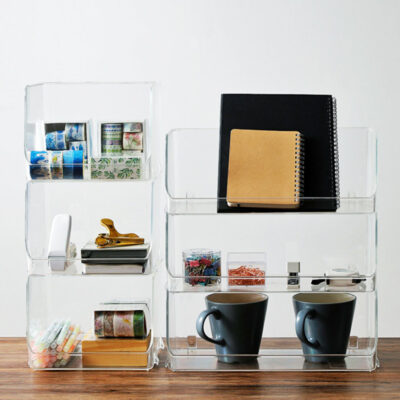 Clarity Stackable Basket Desk Organizer Clear Acrylic Table Cosmetic Vanity Holder Style Degree Sg Singapore