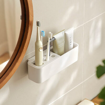 Slim Toothbrush Wall Mounted Holder Bathroom Toilet Shelf Toothpaste Electric Style Degree Sg Singapore