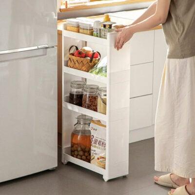 Pull & Slide Slim Kitchen Rack Storage Shelf Shelving Fridge Slim Racks Style Degree Sg Singapore