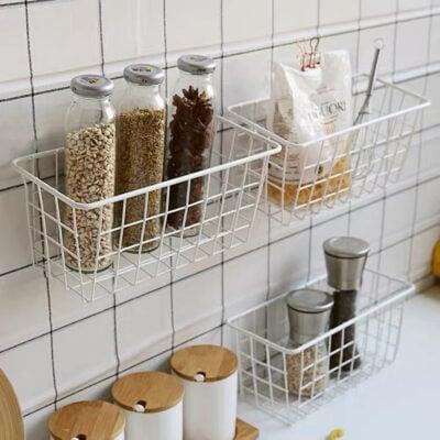 Rustic Hangable Storage Basket Kitchen Cabinet Pantry Hanging Holder Style Degree Sg Singapore