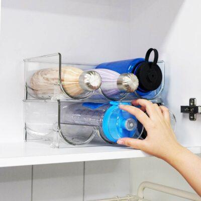 Clarity Water Bottle & Wine Stackable Rack (2pc Set) Storage Shelf Cabinet Organizer Style Degree Sg Singapore