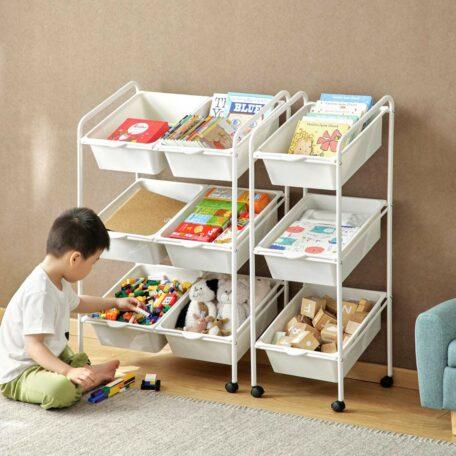 Kids Angled Storage Bin Trolley Toys Books Baby Mum Organizer Rack Shelf Cart Style Degree Sg Singapore