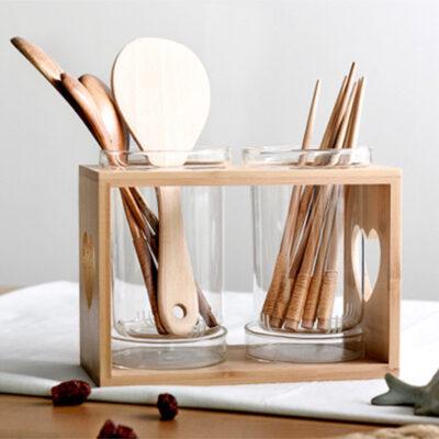 Scandinavian Double Utensils Holder Chopsticks Cutlery Drainage Dryer Style Degree Sg Singapore