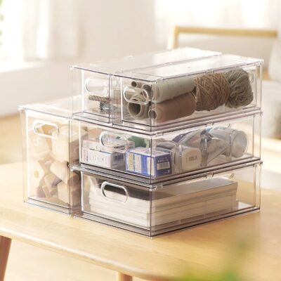 Clear Multi-Purpose Storage Drawer, Stackable Clear Drawers For Home, Transparent Storage Bins Storage Boxes, Singapore, SG, Style Degree