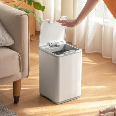 Hygienic Automatic Sensor Dustbin, Motion Sensor Dustbin. Living Room Sleek Dustbin, Minimalistic Dustbin, Singapore Homes, SG, Style Degree