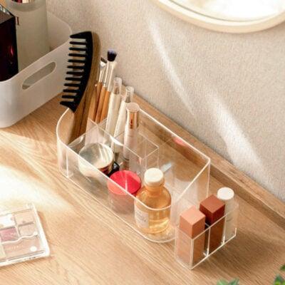 Clarity Desk Organizer Acrylic Makeup Cosmetic Bathroom Toiletries Holder Style Degree Sg Singapore